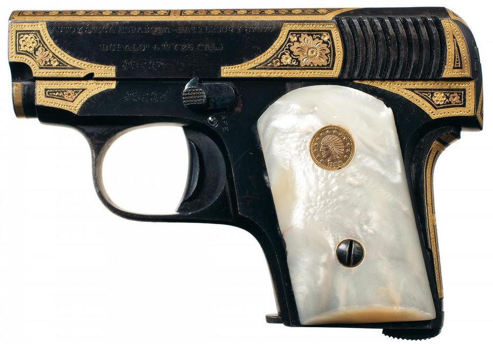 Gold Inlaid Spanish Buffalo .25ACP Pocket Pistol, 1918.