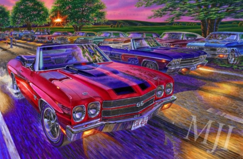 Drop Top Show Down From The American Blacktop Series An Original Painting By Michael Irvine Fine Automotive Art Www Car Car Art Automotive Photography
