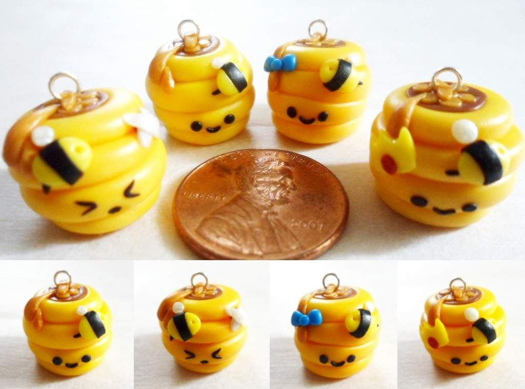Polymer Clay Beehive Charms by ~Saru-Hime on deviantART
