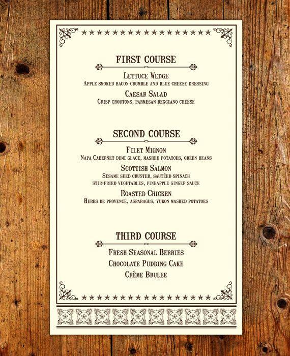 Western Rehearsal Dinner Menu - Customized Printable Menu - dinner menu