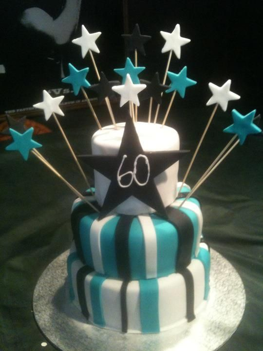 60th Birthday Cake Think We Will Go With Blue Black White