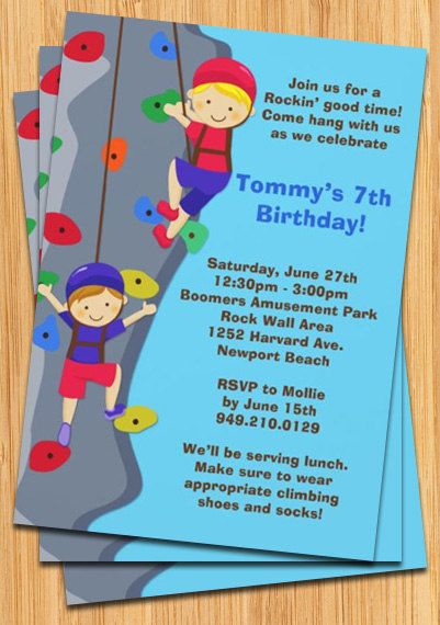 17 Best images about Rock Wall Party – Rock Climbing Birthday Party Invitations