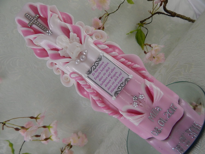 Taufkerze Kerze zur Taufe geschnitzt pink mit Taufspruch Taufkerzen für Mädchen