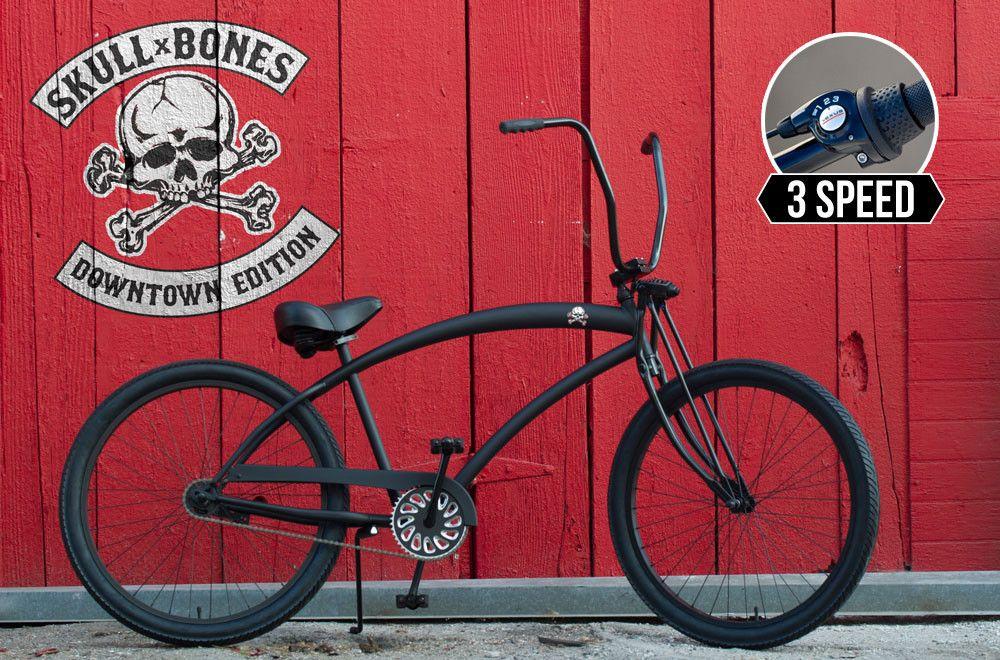 Skull X Bones Downtown 3 Speed Beach Bicycle Beach Cruiser
