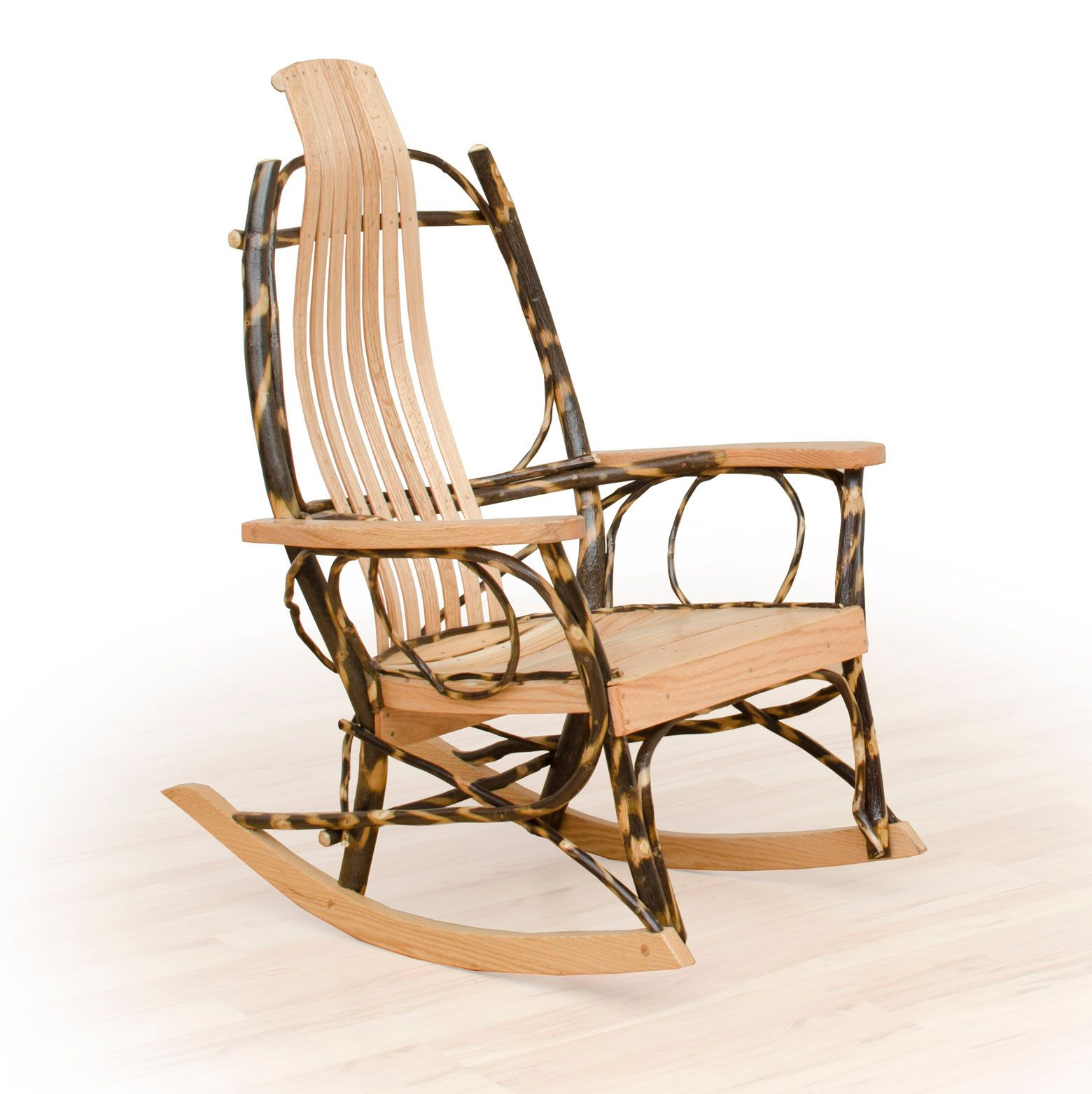 Rustic Flat Arm Hickory and Oak Rocker Rocking chair