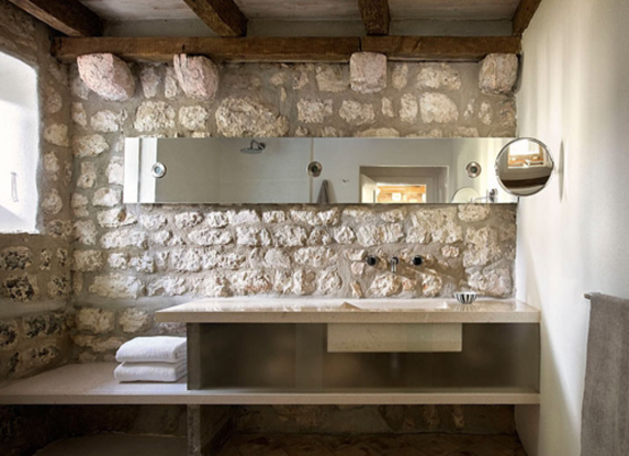 Rustic Modern Bathroom | Vanity Design Linear Mirror Stone Wall Rustic Beam Ceiling