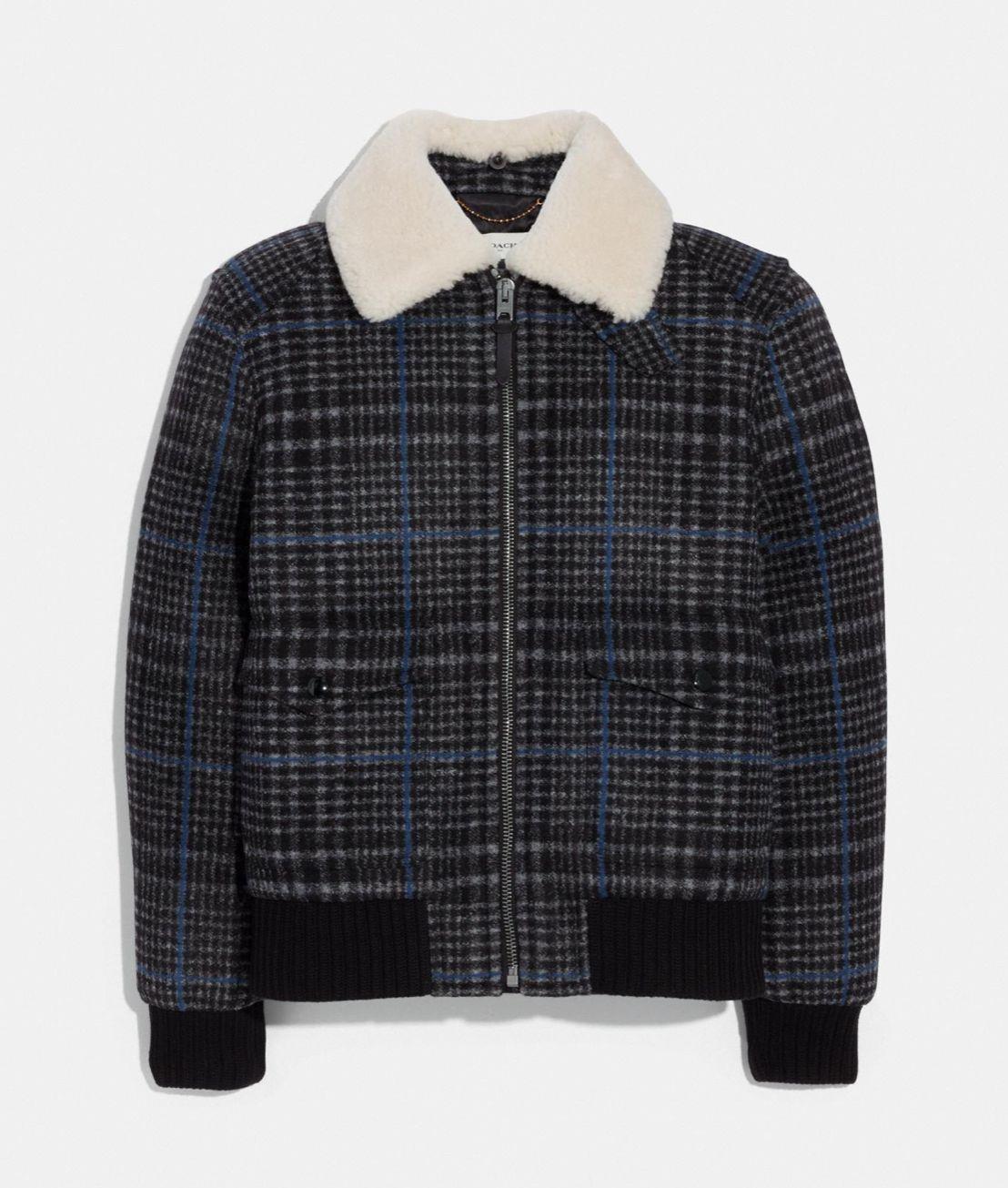Coach Shearling Bomber Jacket Dark Grey Plaid Clothes Vintage Military Jacket Shearling Jacket [ 1305 x 1108 Pixel ]