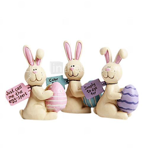 Painting Resin Easter Bunny and Easter Eggs Collectible,3Pcs/set - USD $18.99