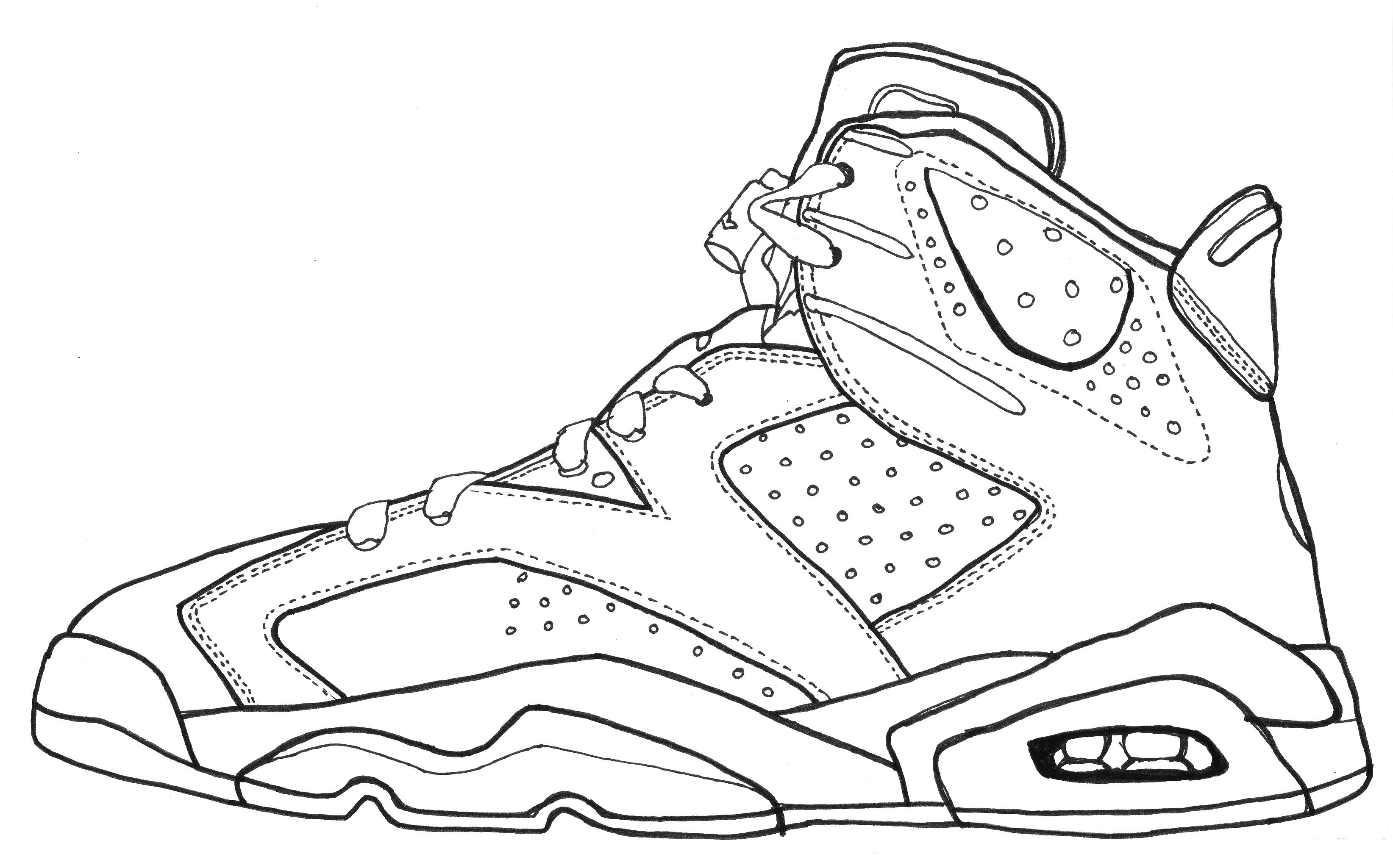 Jordan shoes coloring pages printable - Jordan Vi Sketch Black And White Line Drawing