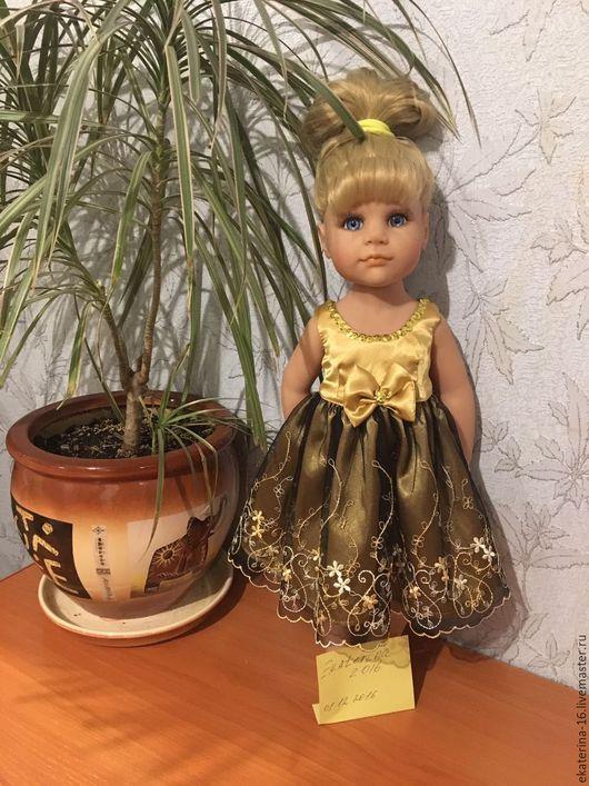 Одежда для кукол ручной работы. Ярмарка Мастеров - ручная работа. Купить платья для кукол Готц. Handmade. Золотой, молния