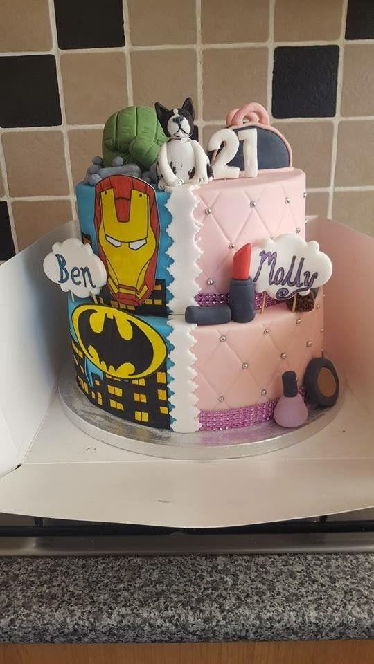 Half Boy Half Girl Birthday Cake With Images 21st Birthday