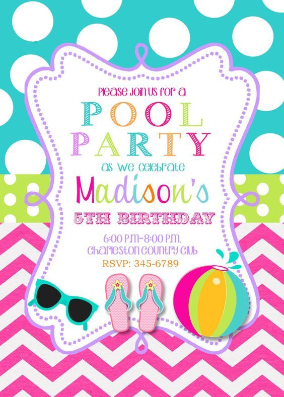 Pool Party Birthday Party Invitations Printable Or Digital File