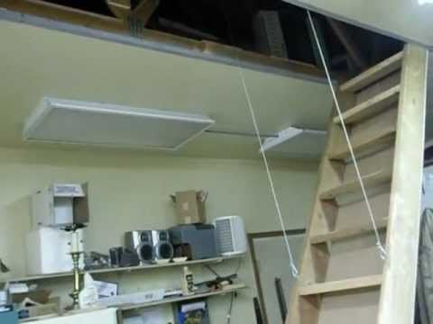 AUTO STAIRS (RETRACTABLE ATTIC LOFT STAIRS) IN GARAGE SHOP DIY