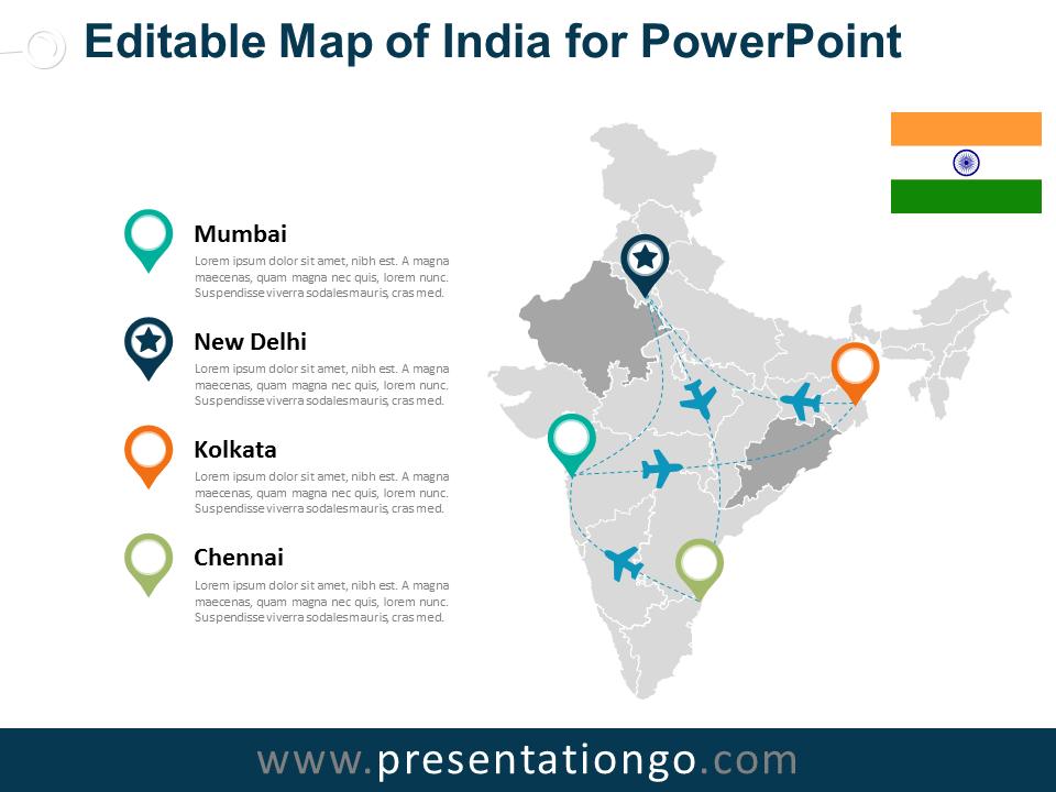 India Editable Powerpoint Map Presentationgo Com Editable Powerpoint Powerpoint India Map