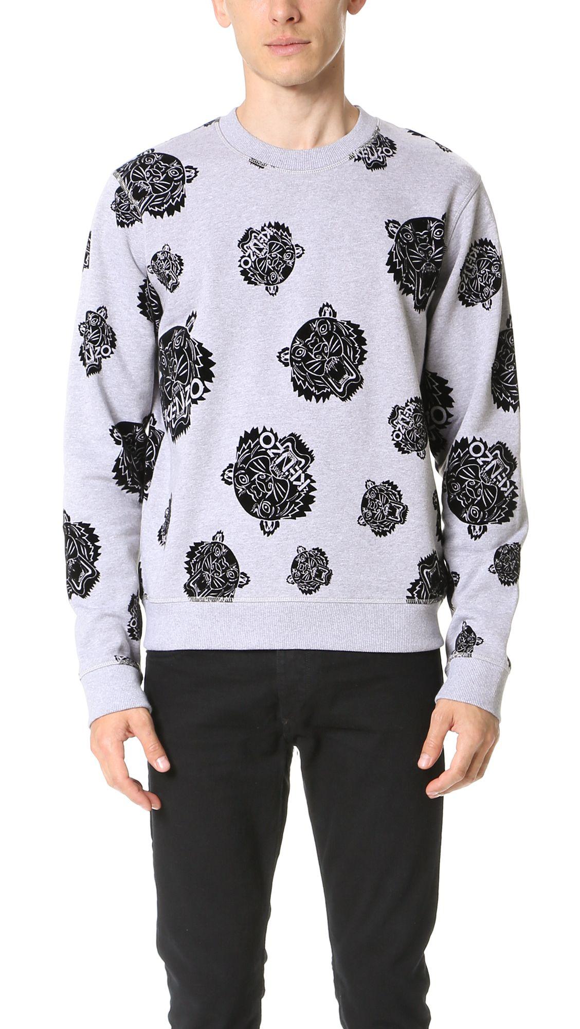 KENZO Flocked Allover Tiger Sweatshirt.  kenzo  cloth  sweatshirt ... 29115613d583