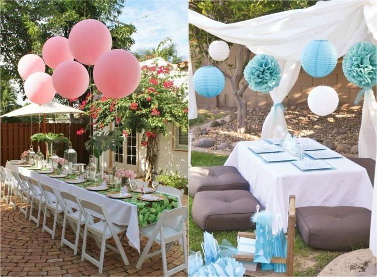 Kindergeburtstag feiern im Freien Deko Ideen Ballons Pompons Check