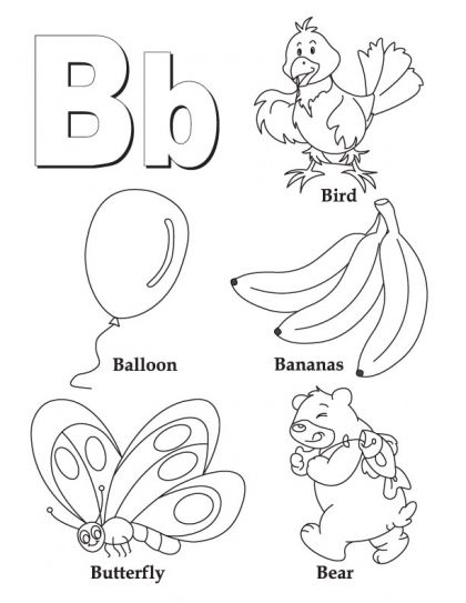 my a to z coloring book letter b coloring page
