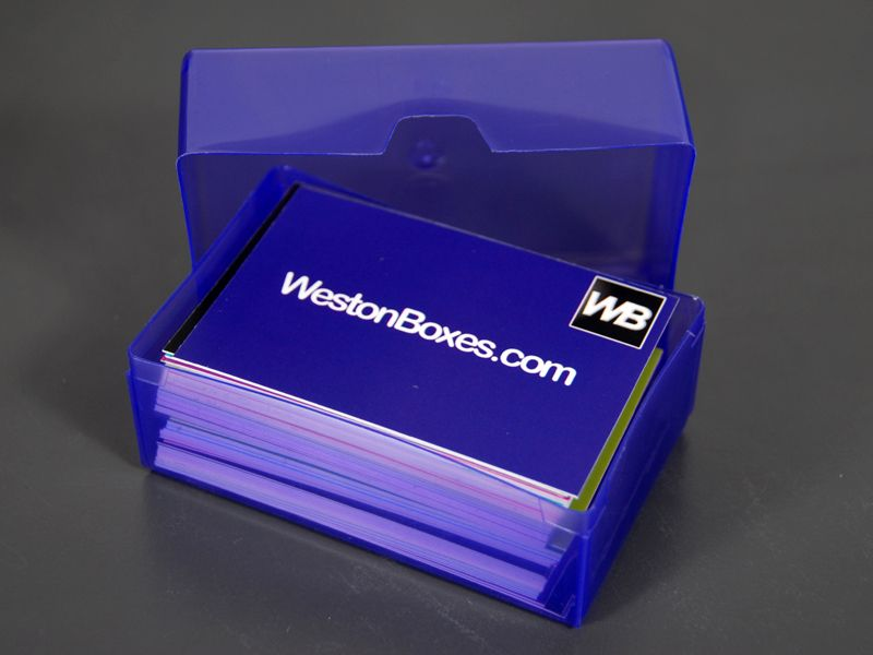 Purple Plastic Business Card Box From WestonBoxes.com | Business ...