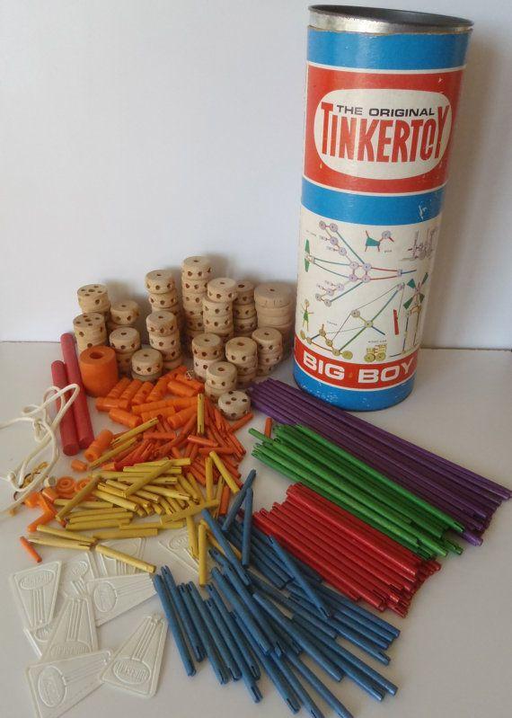 Tinker Toys Vintage 70's Big Boy Canister / Vintage Toys by FeistyFarmersWife #vintagetoys