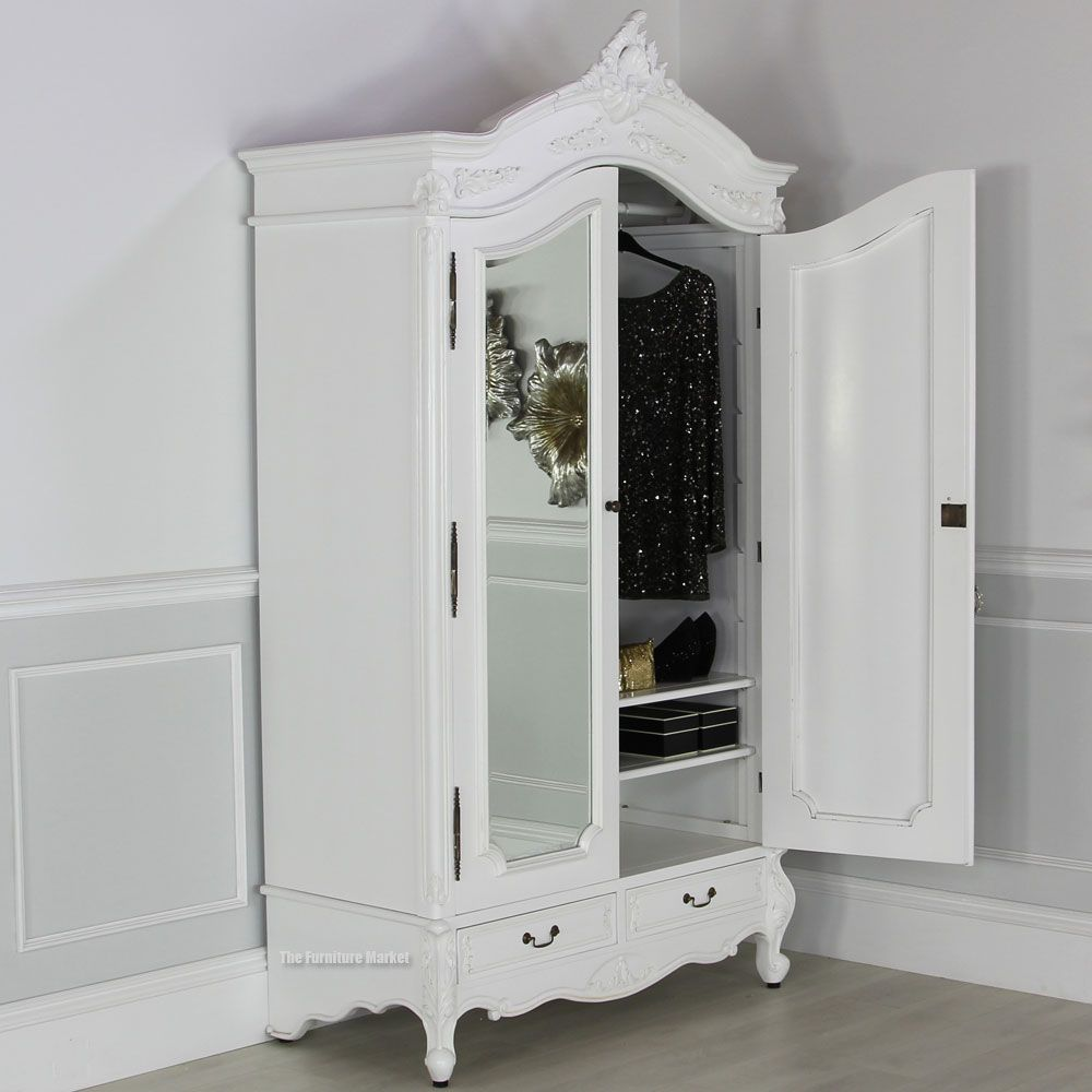 French chateau white painted 2 door mirrored armoire for Dressing armoire