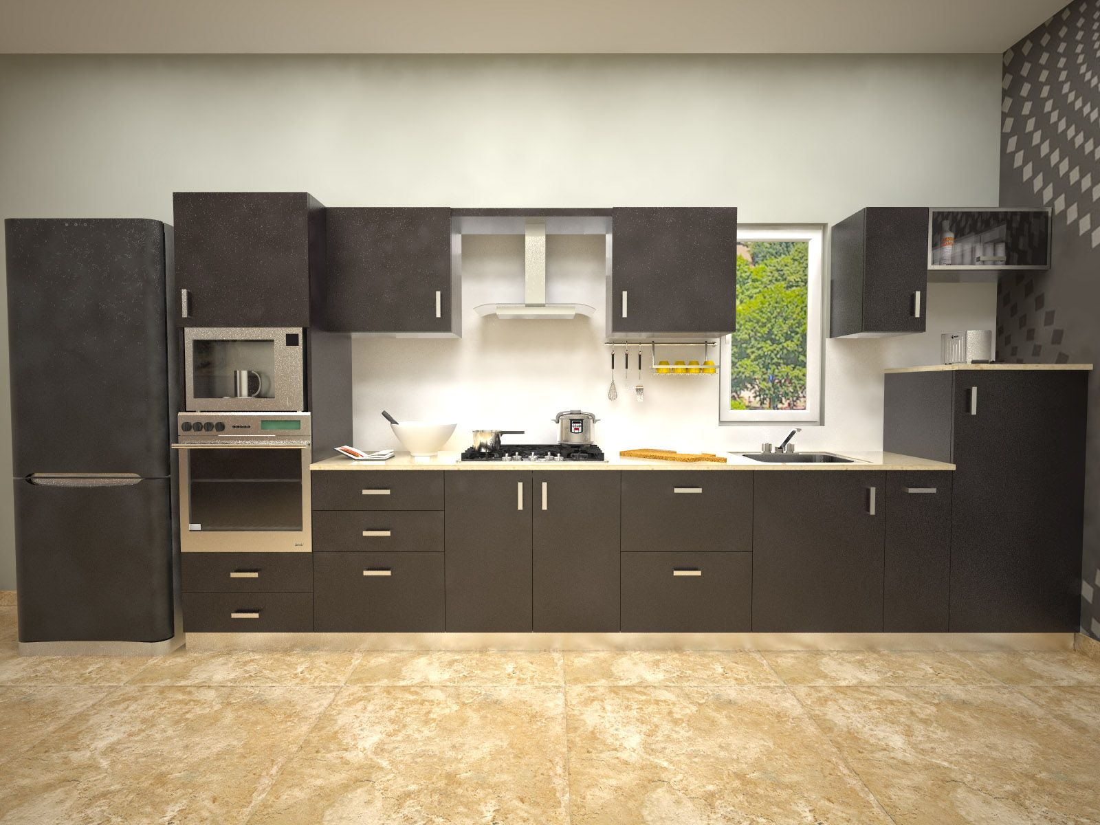 Aamoda kitchen gorgeously minimal modular kitchen for Modular kitchen shelves designs