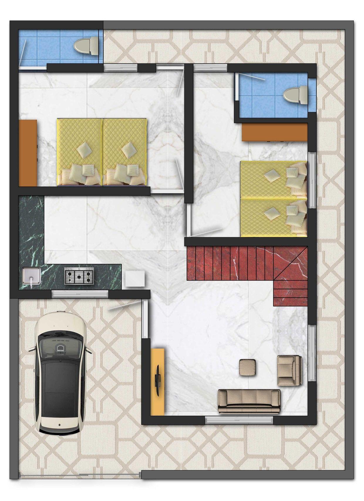 30 X 40 1200 sq ft 3D Floor Plan
