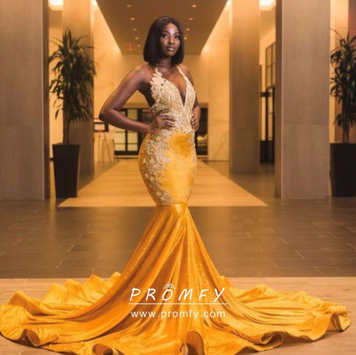 Yellow Velvet Mermaid African American Prom Dress Prom Dresses Yellow Prom Girl Dresses African Prom Dresses [ 1195 x 1200 Pixel ]
