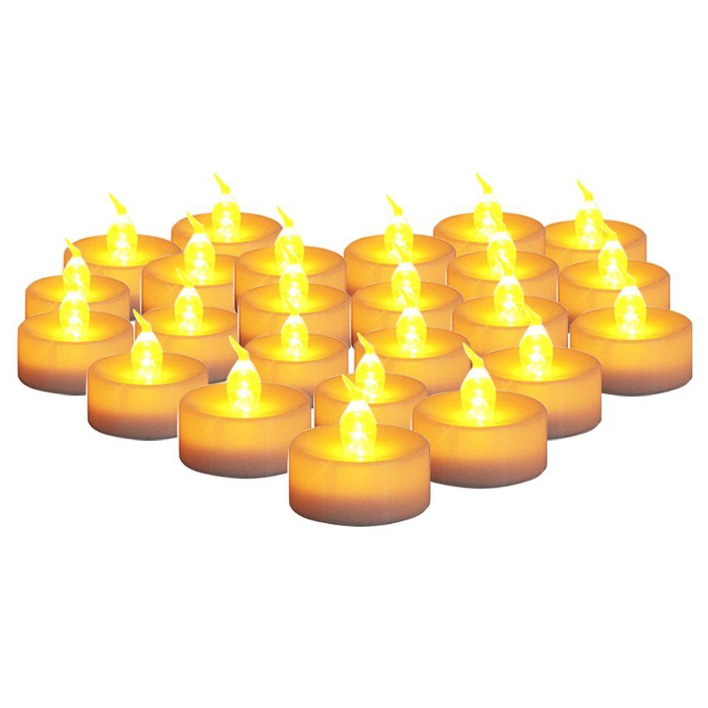 AGPtek® Set of 24 pcs Battery Operated Flickering Flameless Amber Yellow Tealight Candles with 6 Hours On and 18 Hours Off Timer (batteries included) *** Instant discounts available  : Candles Holders Decor
