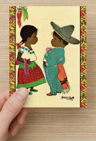 Mexican Kids Spanish Children Girl Boy Chili Peppers Mexico Vintage Look Postcard Stationary Standard Size Set Of 12 Cards