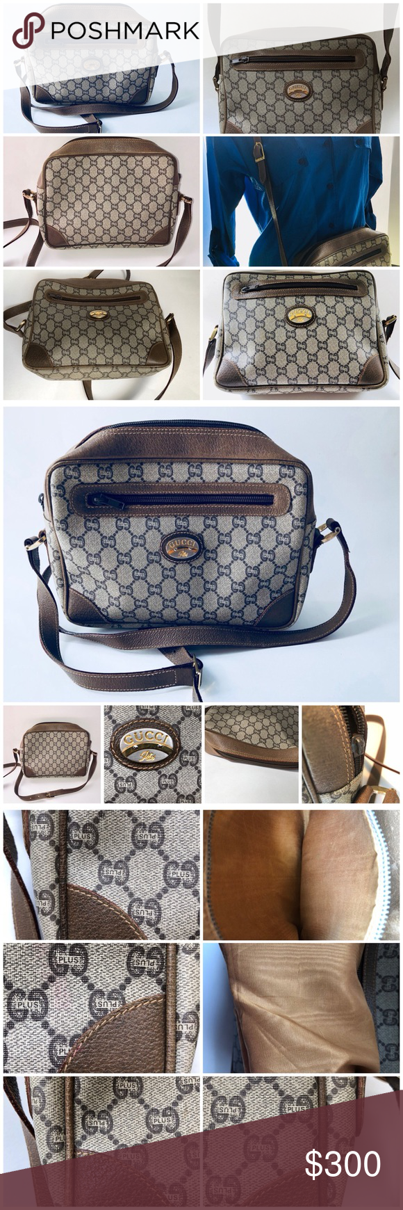 49a09f476d25 Spotted while shopping on Poshmark: Vintage GUCCI PLUS CLASSIC MONOGRAM  CROSSBODY BAG! #poshmark #fashion #shopping #style #GUCCI PLUS #Handbags