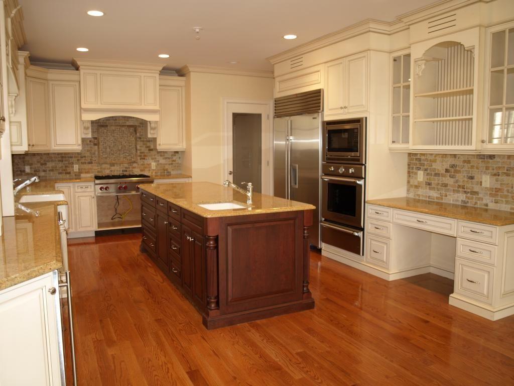 Cream Cabinets Scabos Travertine Backsplash Kitchen Layout Cream Cabinets Kitchen Remodel