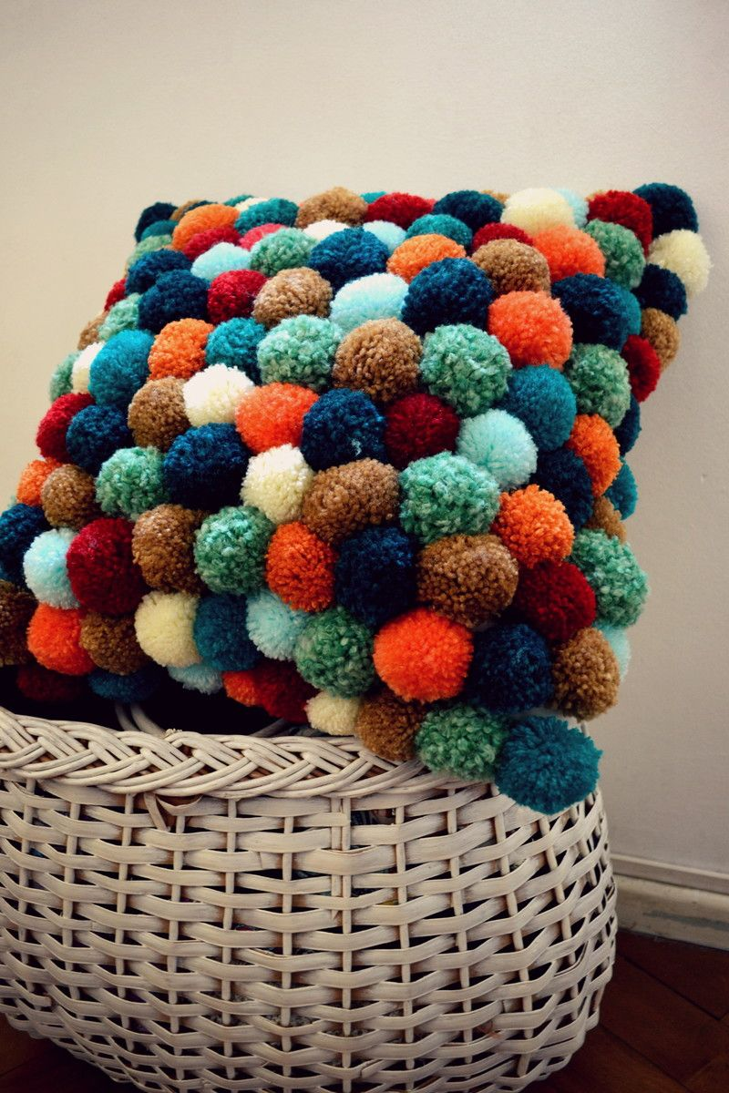 Date: Note: A beautiful and full of colors pillow. This pillow has a full  trimming of decorative balls. Would be perfect for master bedroom in all  white pom ...
