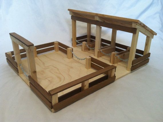 Holzspielzeug Stall mit Futter viel #handmadetoys