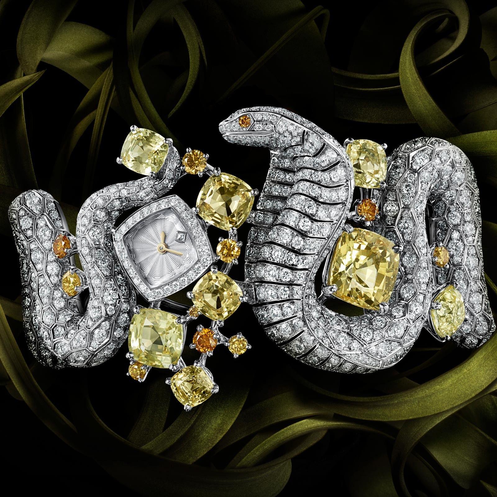 Cartier haute joaillerie montre decor serpent watch face for Haute joaillerie cartier