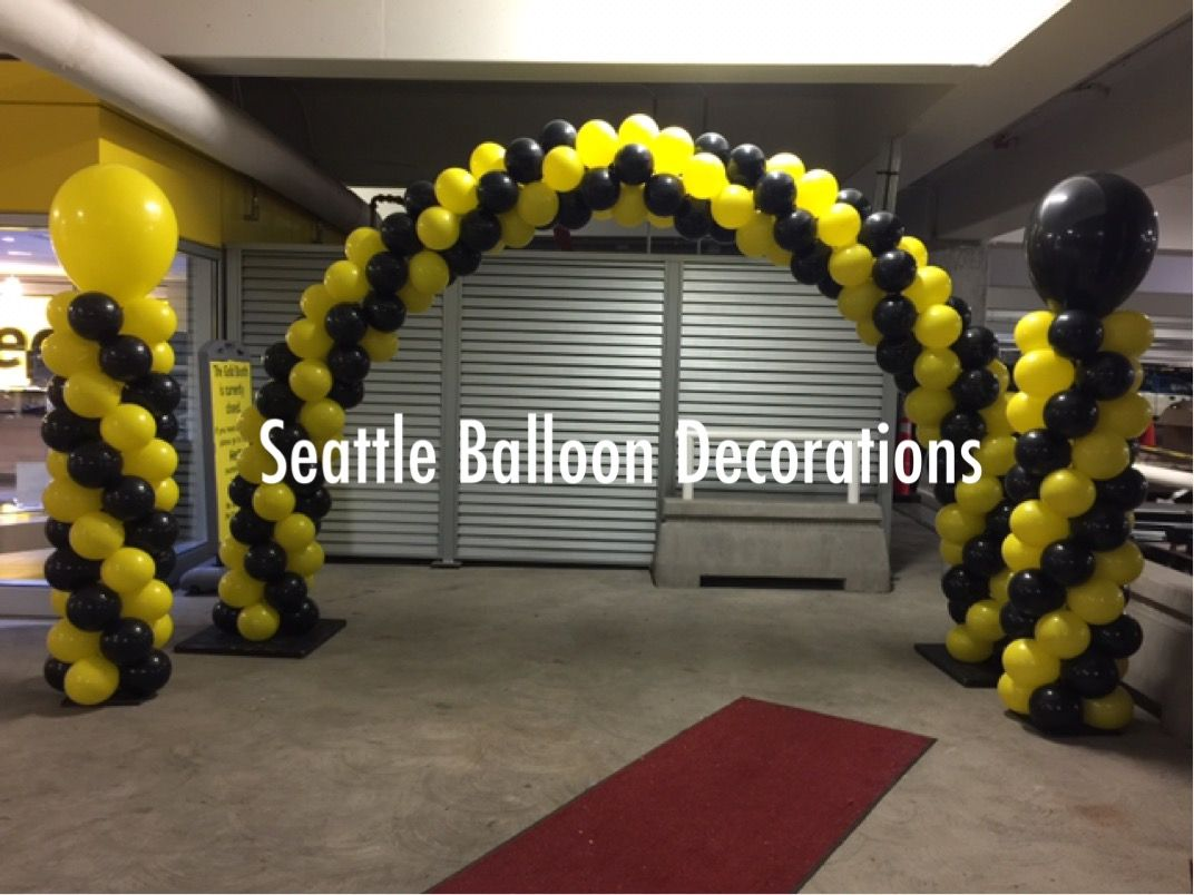 Yellow And Black Balloon Arch And Columns Balloon Arch Black Balloons Balloons