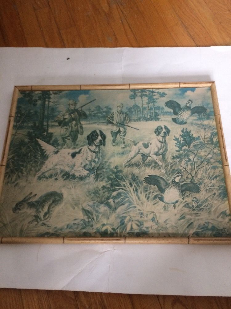 Emmett Watson Art Print Cardboard Bamboo frame Dogs Retriever Grouse Hunting OLD