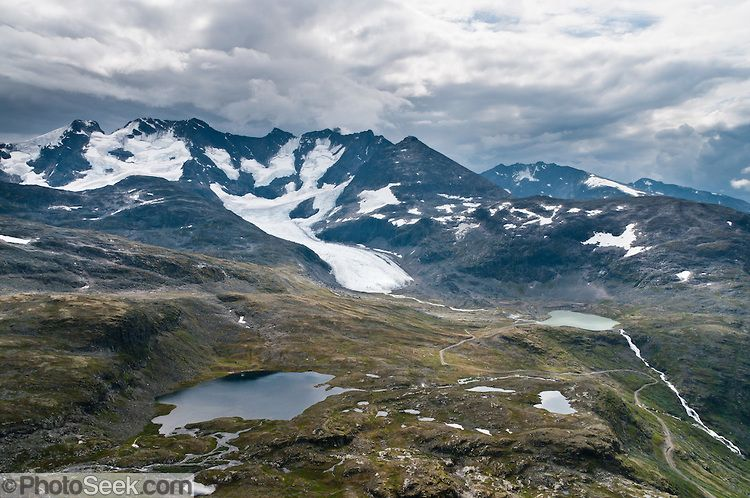 Jotunheimen National Park, Styggedalsbreen glacier, Store Styggedalstind, Hurrungane Range, from Fannaråken mountain, Norway | PhotoSeek.com