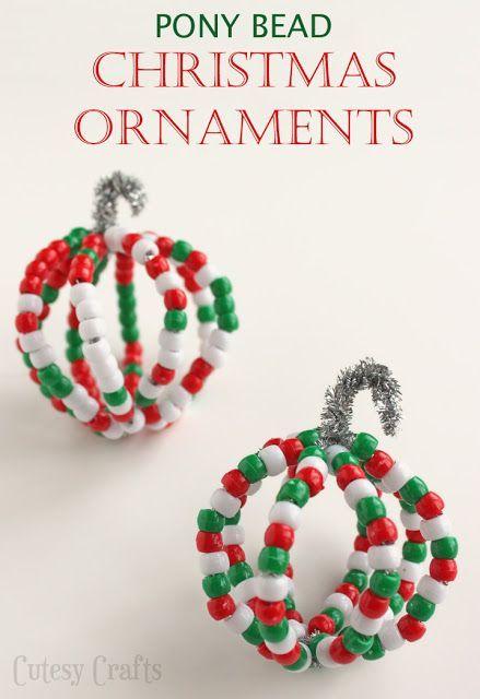 Pony Bead Christmas Ornaments Pony Bead Crafts Beaded Christmas