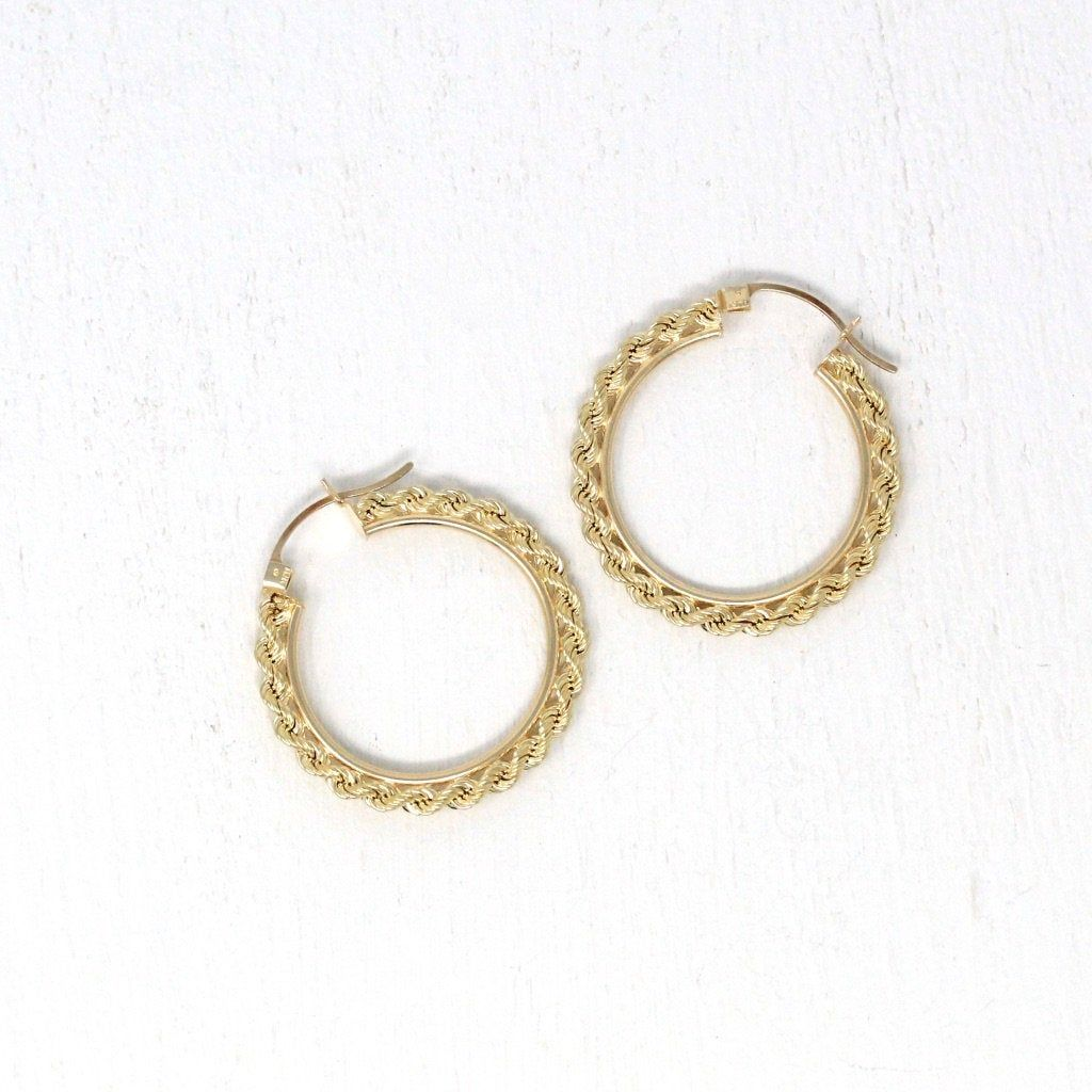 Modern Hoop Earrings Estate 10k Yellow Gold Latch Back Etsy In 2020 Modern Hoop Earrings Large Earrings Hoop Earrings