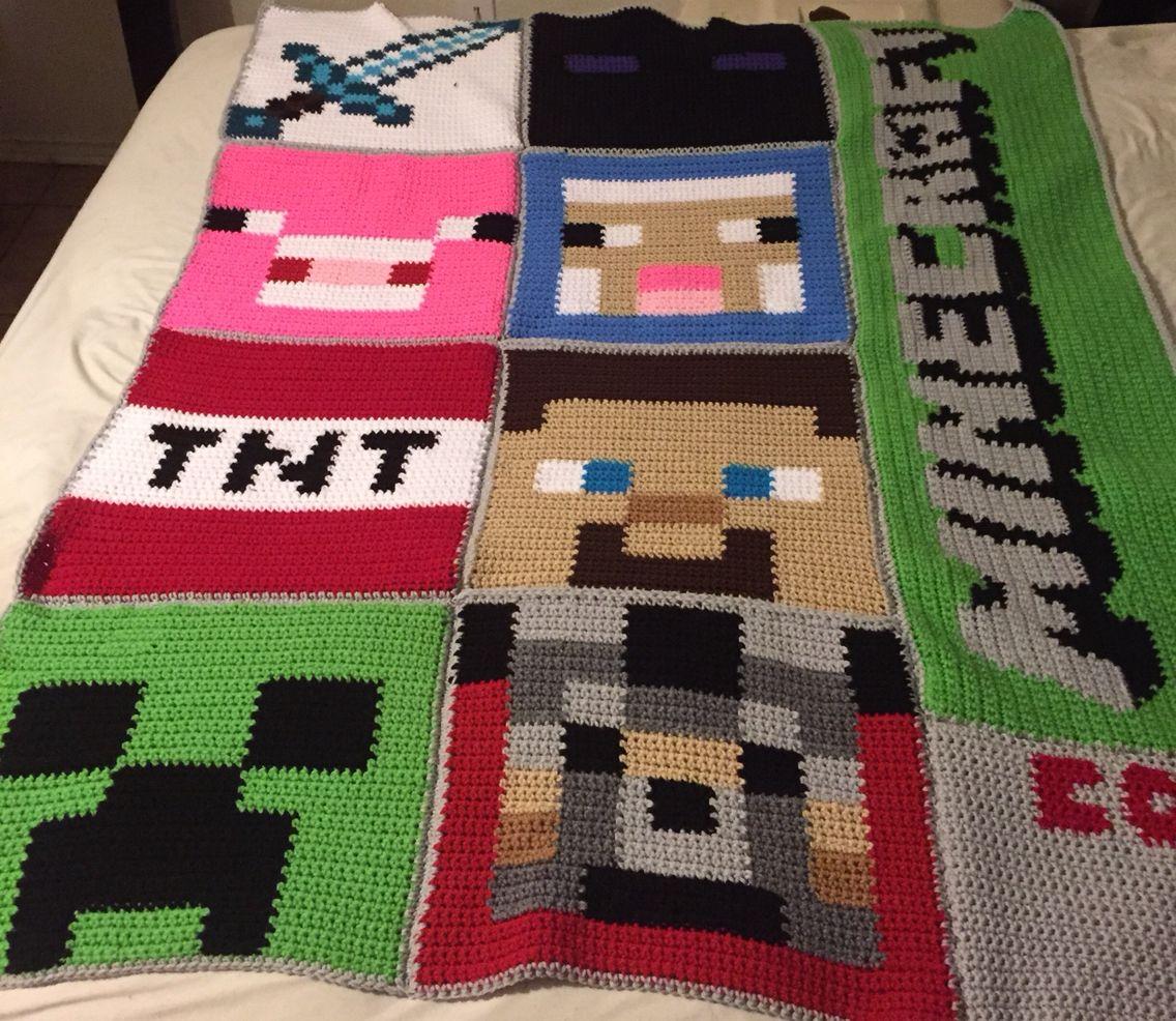 Minecraft crochet graphghan blanket. Pattern by AZ Threads | Made ...