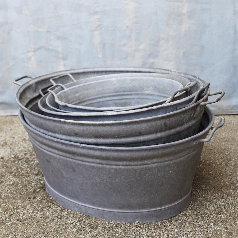 Metal Wash Bin Vintage Zinc Basin Bin Bins Buckets Galvanized Buckets Tubs