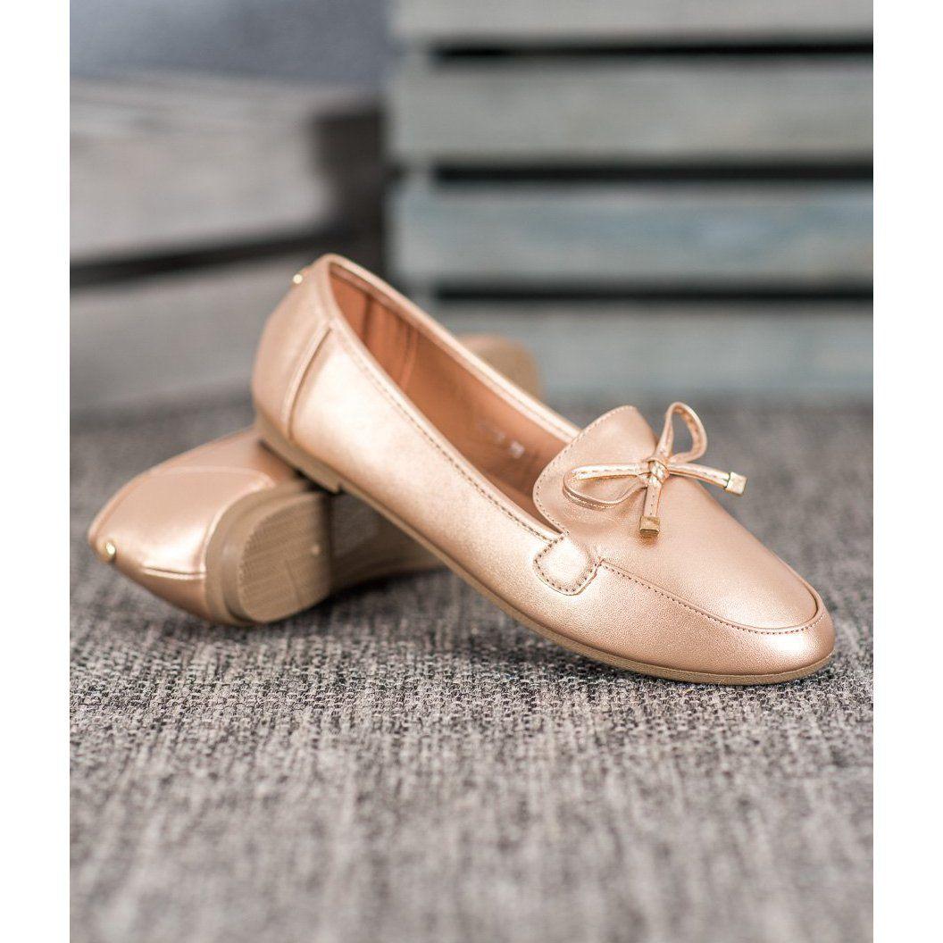 Clowse Eleganckie Zlote Baleriny Zloty Dress Shoes Men Loafers Men Oxford Shoes