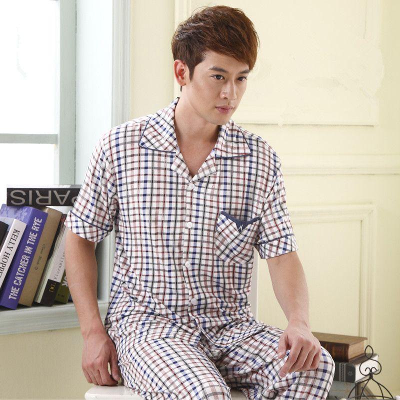 ba0c10d8506 Men s pajamas Summer Sleepwear Short Sleeve Pants Plaid Cotton Men s Lounge  Pyjamas Men Pajama Set
