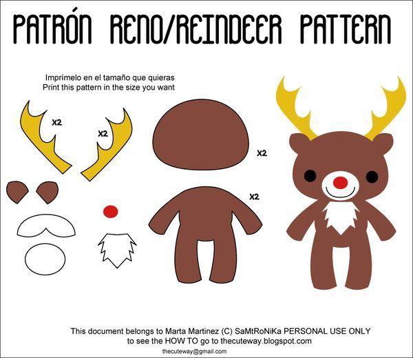 moldes de renos navideños (3) | manualidades | Pinterest | Felt ...