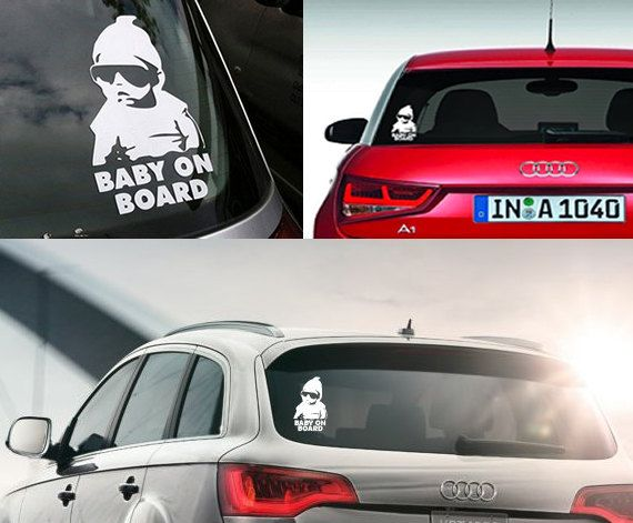 Baby On Board Carlos Hangover Funny Car Vinyl By PrintingCraft - Car sticker designripped torn metal design with evil eye monster motif external