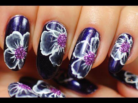 Nail Art. White Flowers. - YouTube