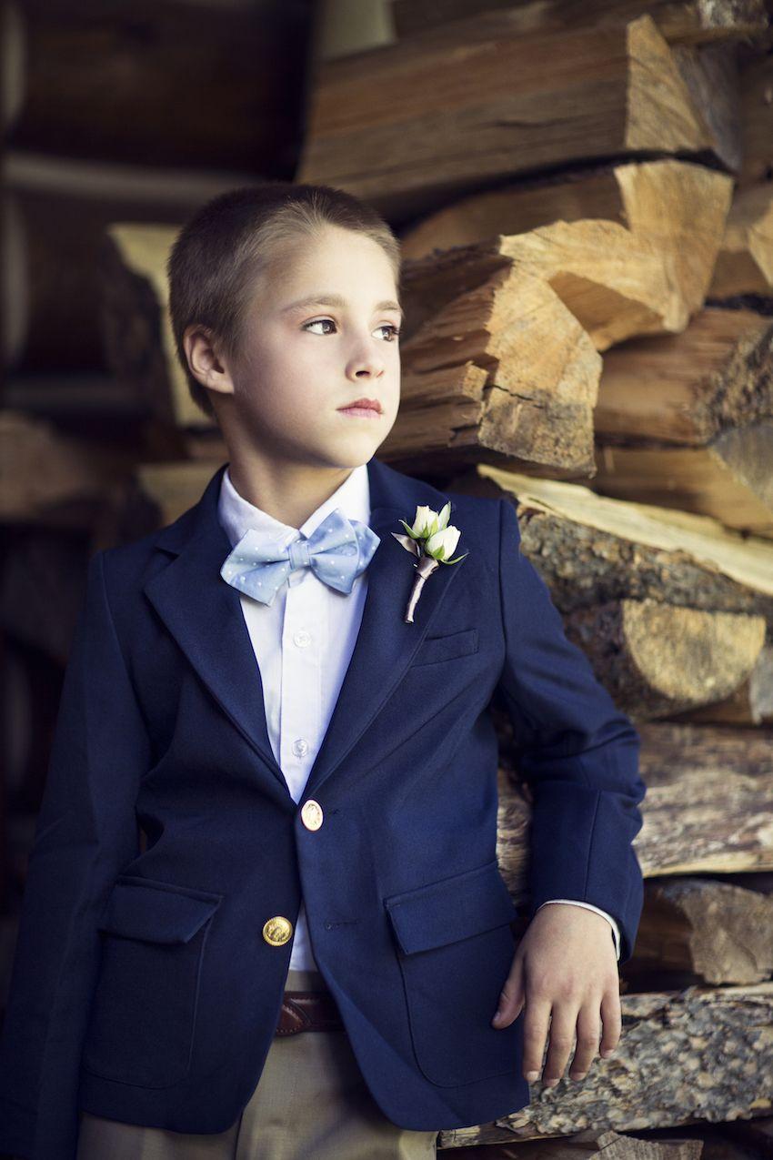 Rustic + Classic Summer Wedding in Lake Tahoe California | Blue ties Tan dresses and Navy jacket