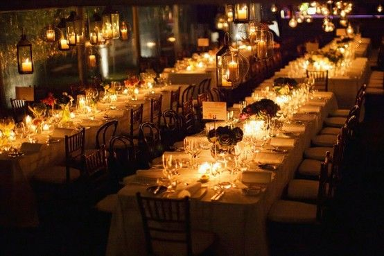 candlelit reception tables