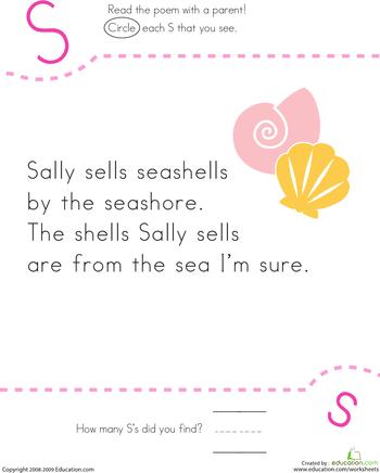 Find The Letter S Sally Sells Seashells Kindergarten Reading Worksheets Nursery Rhymes Kindergarten Tongue Twisters For Kids