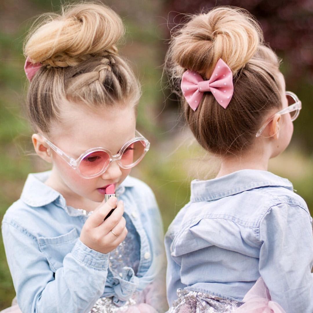 Enjoyable Little Girl Hairstyles Half Up Half Down Top Knot Messy Bun Short Hairstyles For Black Women Fulllsitofus